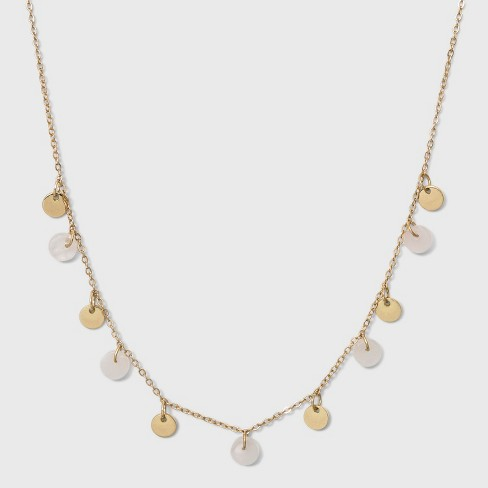 Semi Precious Short Delicate Charm Disc Necklace - Universal Thread™ Light Gold - image 1 of 2