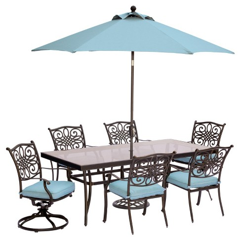 Traditions 9pc Rectangle Metal Patio Dining Set w/ 9' Umbrella & Stand - Blue - Hanover - image 1 of 9