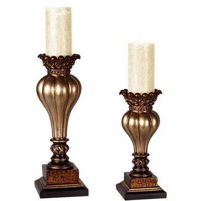 Kensington Hill Old World Gold Bronze Pillar Candle Holder Set of 2