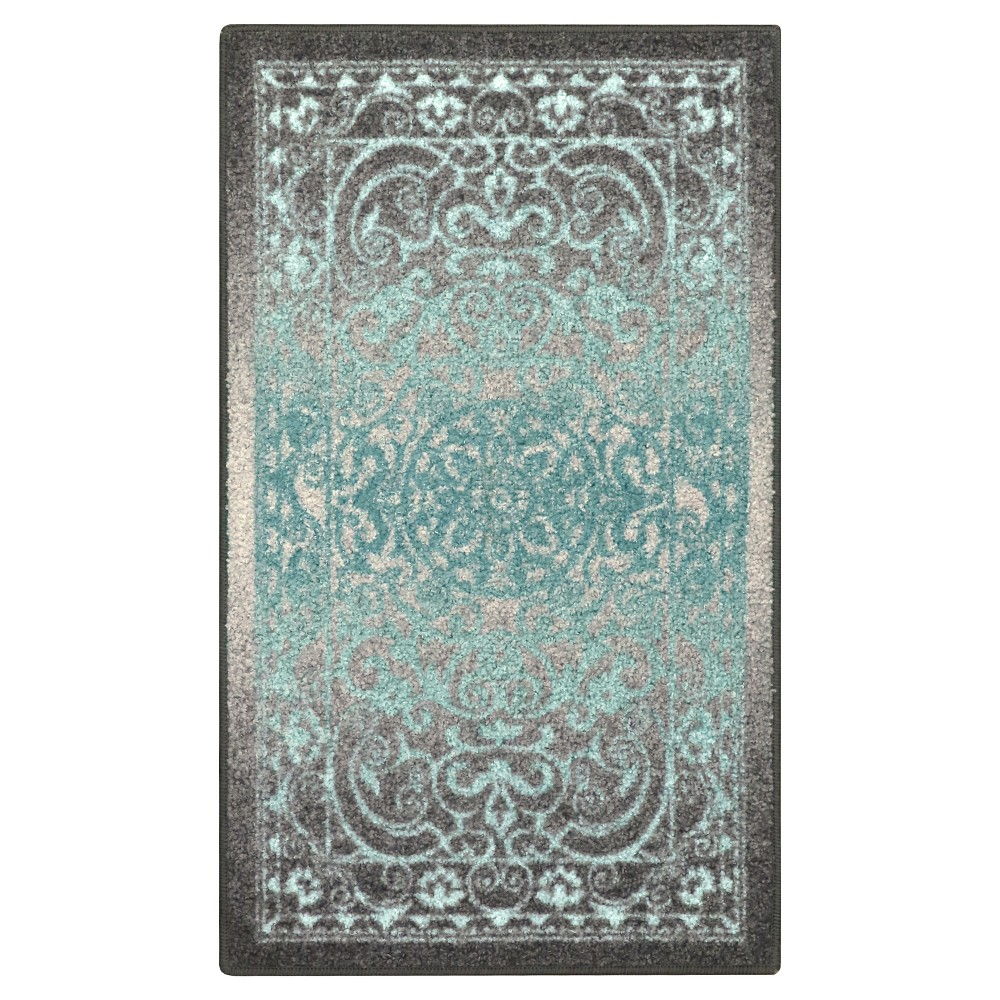 """Image of """"2'6""""""""X3'10"""""""" Scroll Tufted Accent Rug Gray - Maples"""""""