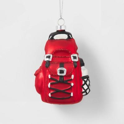 Red Hiking Backpack Glass Christmas Tree Ornament - Wondershop™