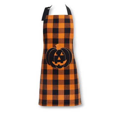 "Farmhouse Living Buffalo Check Pumpkin Pocket Apron - 24"" x 32"" - Black/Orange - Elrene Home Fashions"