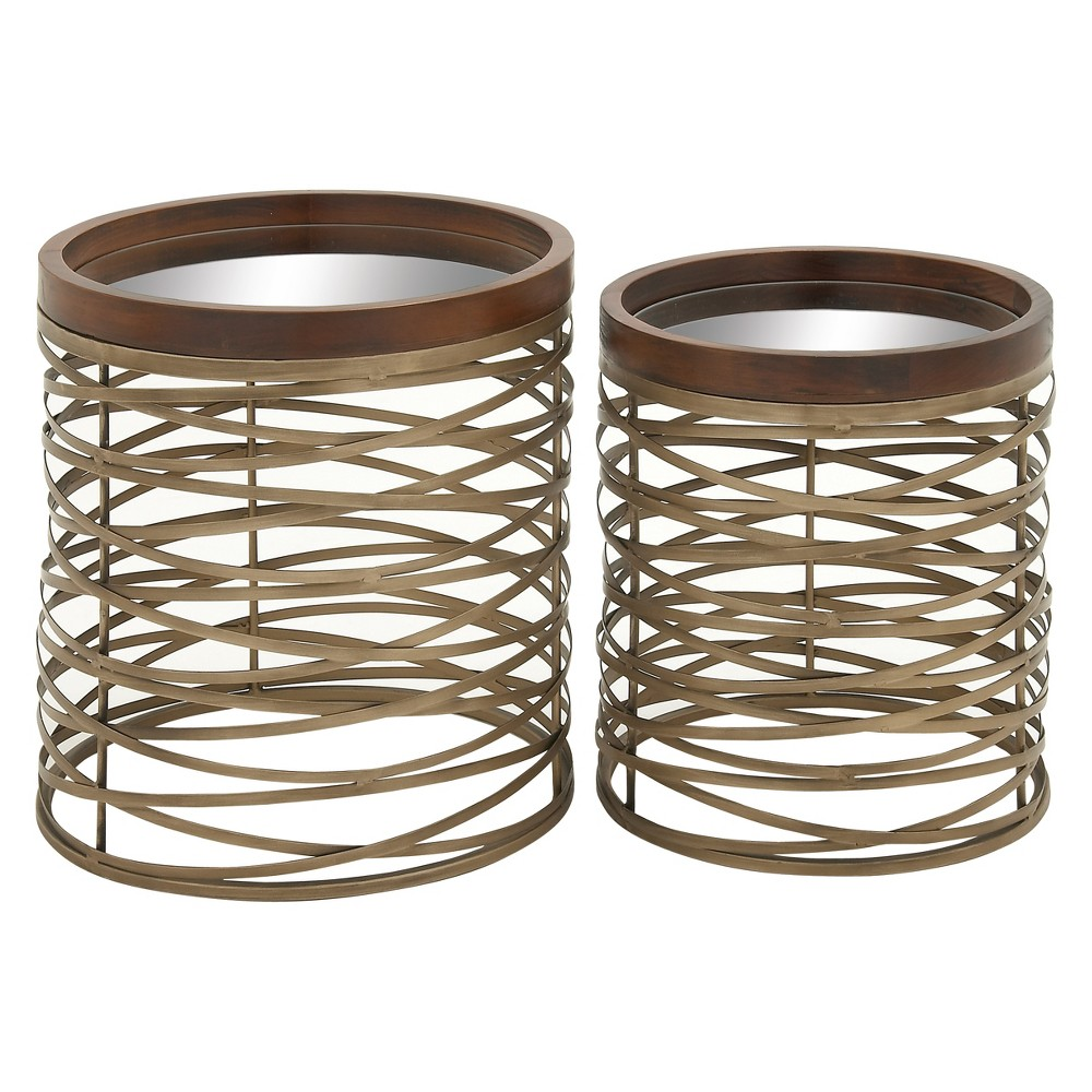 Metal and Glass (Set of 2) Cross Woven Base Accent Tables Brass - Olivia & May