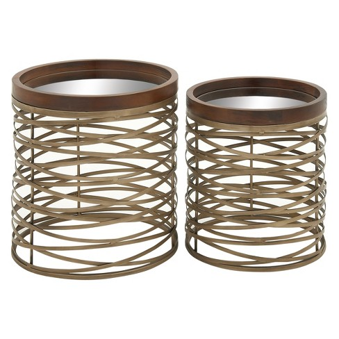 Set of 2 Metal and Glass Cross Woven Base Accent Tables Brass - Olivia & May - image 1 of 4