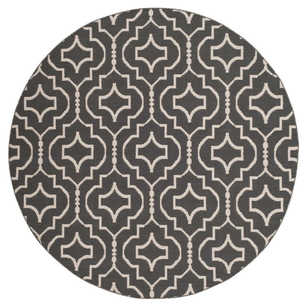 Dark Gray/Ivory Quatrefoil Design Woven Round Area Rug 6' - Safavieh
