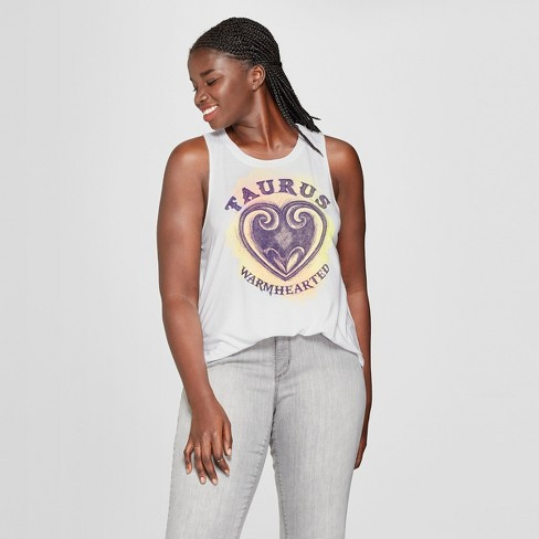 Women's Plus Size Taurus Warm Hearted Graphic Tank Top - Modern Lux (Juniors') White - image 1 of 2