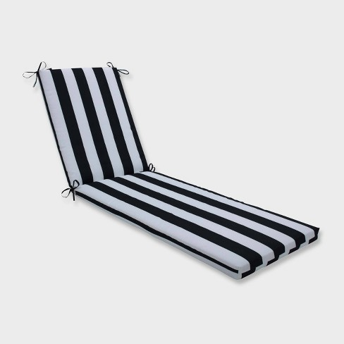 80 X 23 X 3 Cabana Stripe Chaise Lounge Outdoor Cushion Black Pillow Perfect