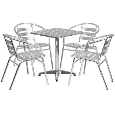 Flash Furniture 23.5'' Square Aluminum Indoor-Outdoor Table Set with 4 Slat Back Chairs