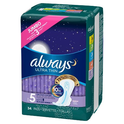 Always Ultra Thin Extra Heavy Overnight Pads - Size 5 - 34ct