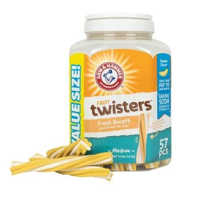 Arm & Hammer Fruit Twisters Banana Flavor Dental Dog Treats - 57ct