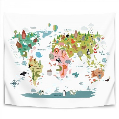 Americanflat Animals World Map by NUADA Wall Tapestry
