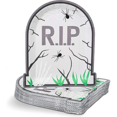 """Spooky Central 48 Pack """"R.I.P Tombstone"""" Paper Plates, Halloween Party Supplies (9 In)"""