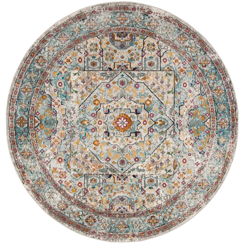 6'5 Medallion Loomed Round Area Rug Cream/Blue (Ivory/Blue) - Safavieh