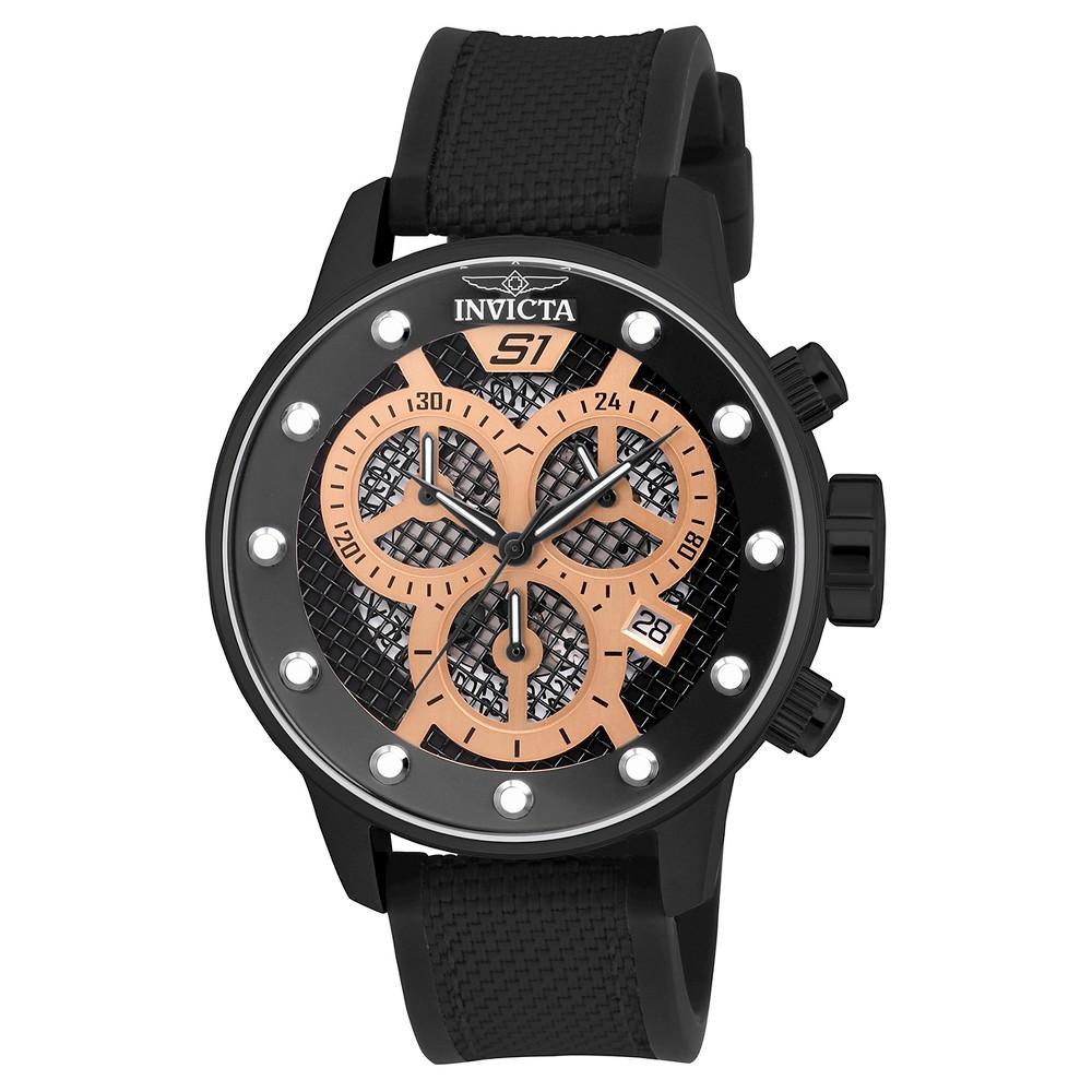 Men's Invicta 19625 S1 Rally Quartz Black Dial Link Watch - Black