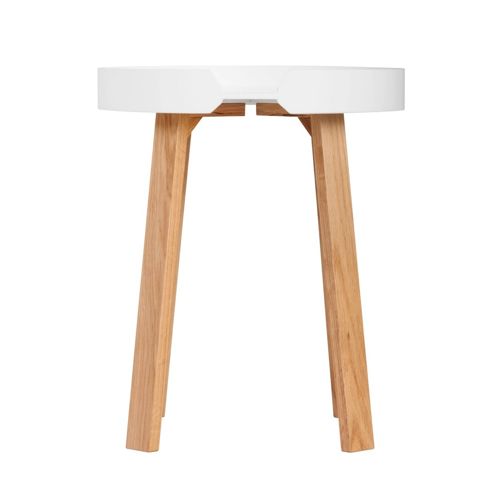 Image of Remus Round Side Table Oak Brown/White - Universal Expert