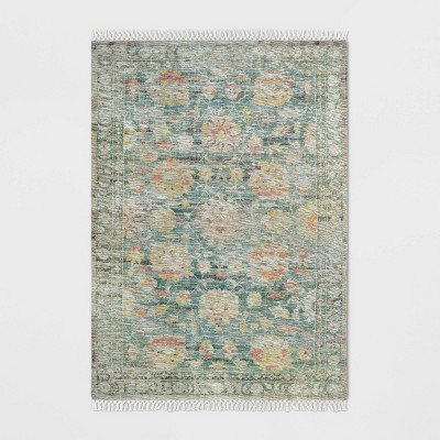 5'X7' Washed Out Digital Printed Persian Woven Area Rug Ivory/Green - Threshold™