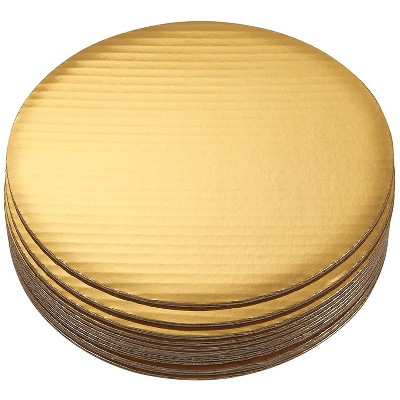 Juvale 12 Pack Round Cake Boards, Scalloped Cardboard, Cake Pizza Tart Circle Base Stands (Gold, 10 in)