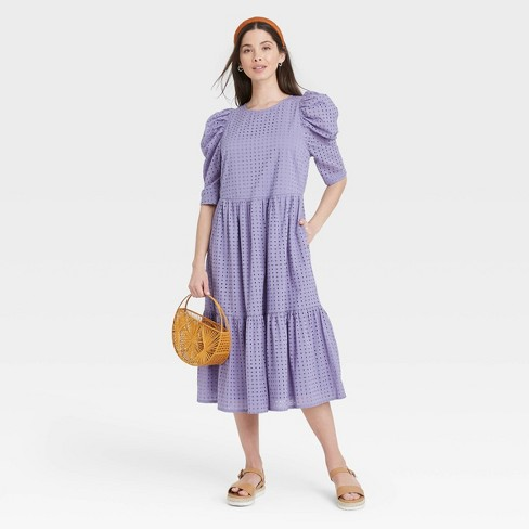 Women's Elbow Sleeve Eyelet Dress - A New Day™ - image 1 of 3