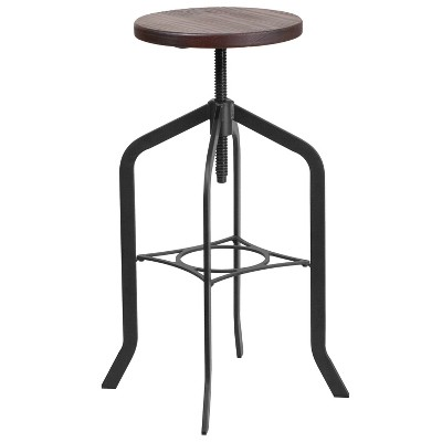 Merrick Lane 30 Inch Black Metal And Wood Bar Counter Stool With Adjustable Height Seat And 360° Swivel