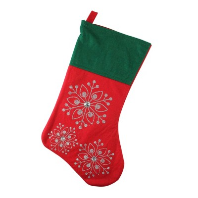 """Northlight 19"""" Red and Green Felt Christmas Stocking with Snowflakes"""