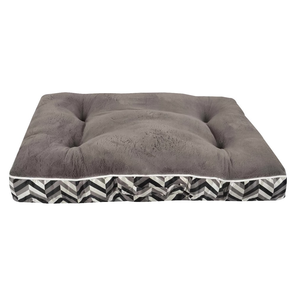 Chevron Mattress Pet Bed - Large - Radiant Gray - Boots & Barkley