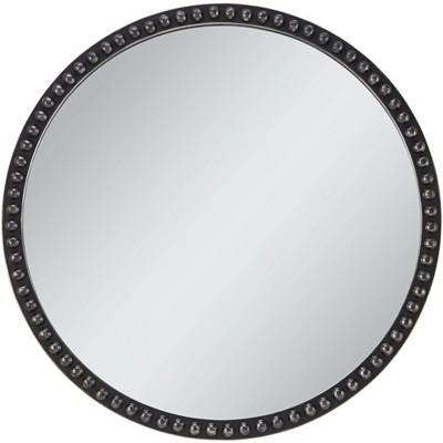 "Uttermost Corwin Black 34"" Round Metal Framed Wall Mirror"