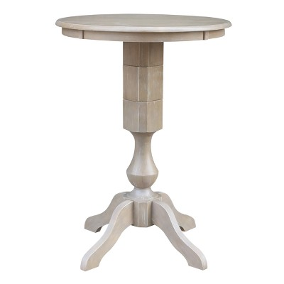 """Solid Wood 30"""" X 30"""" Round Pedestal Dining Table Weathered Gray - International Concepts"""