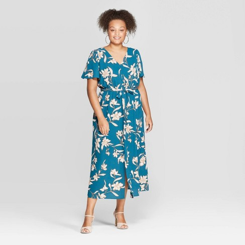 Women's Plus Size Floral Print Short Sleeve V-Neck Button Front Maxi Dress - Ava & Viv™ Teal - image 1 of 3