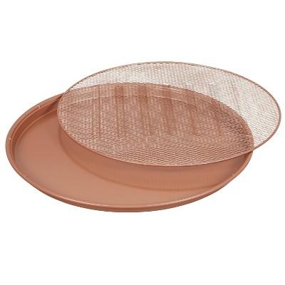 "Wilton 16"" Rose Gold Ceramic Pizza Pan"