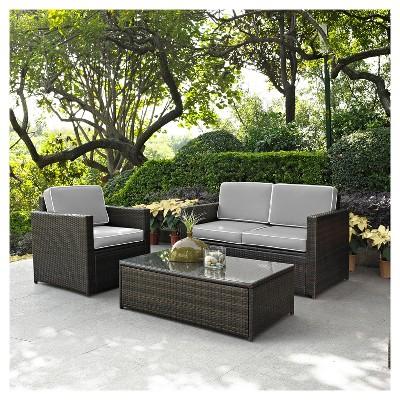Bon Palm Harbor 3pc All Weather Wicker Patio Seating Set   Gray   Crosley
