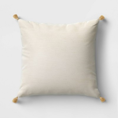 Velvet Square Throw Pillow with Tassels Cream - Threshold™