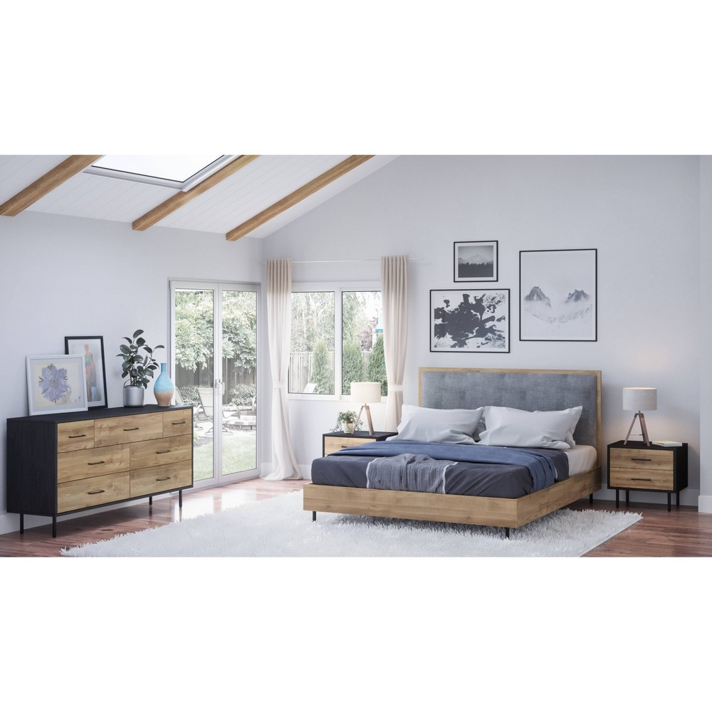 Image of 4pc Tyler Mid Century Wood Bedroom Set Queen Natural - Abbyson Living