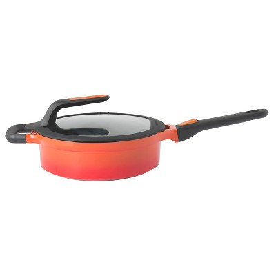"BergHOFF GEM  Cast Alum Nonstick  9.5"" Covered Saute Pan , Carribean Red, Stay Cool"