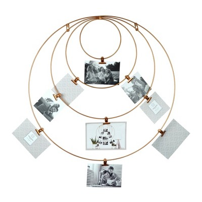 "25"" x 25"" 9 Opening Circular Metal Wire Collage Photo Display Brass - Prinz"