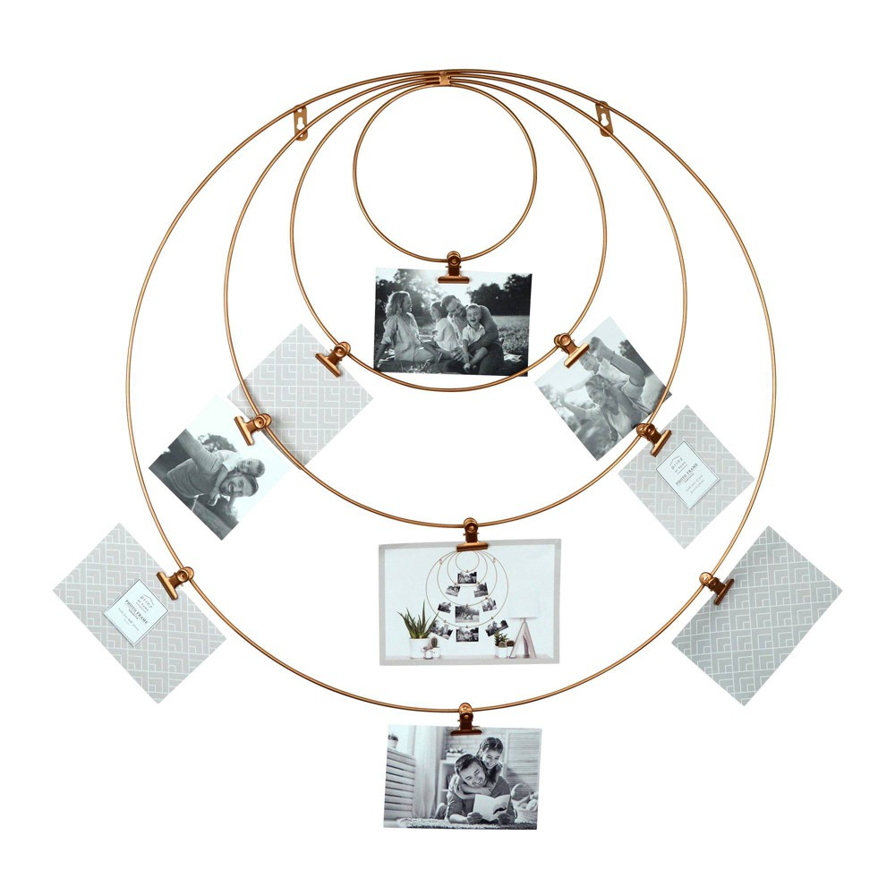 Image of 9 Clips Hanging Metal Wire Collage Circular Wall Display Brass - Prinz