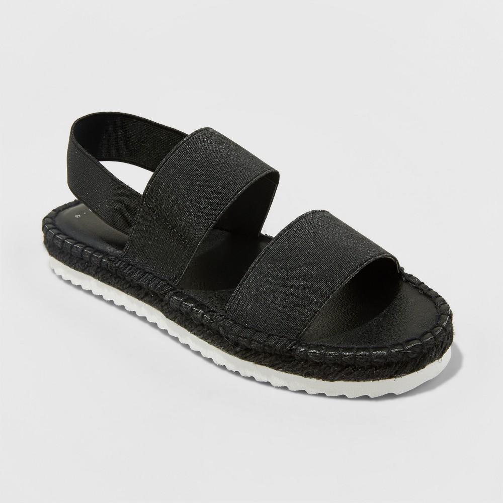 Women's Noelya Ankle Strap Sandal - A New Day Black 8