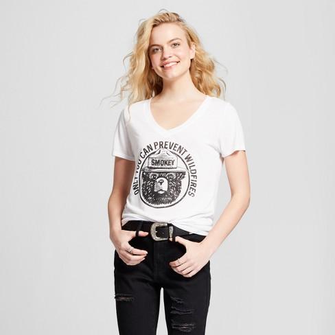 Women's Smokey the Bear Short Sleeve Drapey T-Shirt - White XL - image 1 of 2