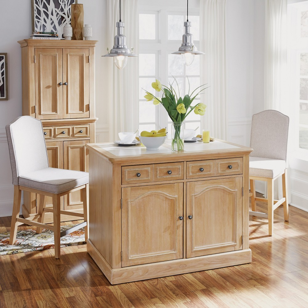 Cambridge Kitchen Island with Quartz Inset Top & Two Stools White Washed - Home Styles