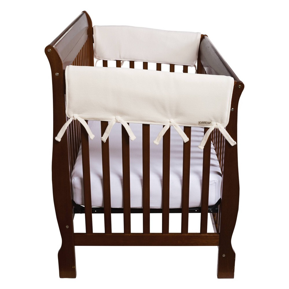 "Image of ""Set of Two Fleece 27"""" Side Rail Cover for Convertible Cribs- Natural"""