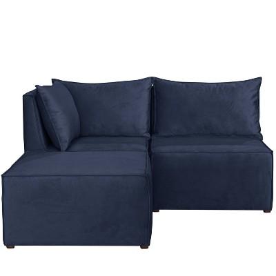 French Seamed Sectional Sofa in Velvet - Skyline Furniture