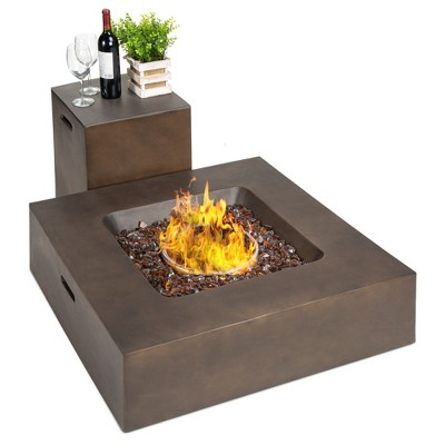 Best Choice Products 35x35in 40,000 BTU Outdoor Square Propane Fire Pit Table w/ Side Table Tank StorageCover