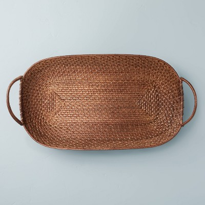 Dark Rattan Décor Tray with Handles Brown - Hearth & Hand™ with Magnolia