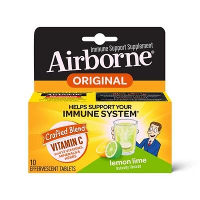 Airborne Lemon Lime Effervescent Tablets, 10 count - 1000mg of Vitamin C - Immune Support Supplement