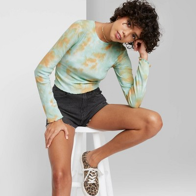 Women's Long Sleeve Fitted Rib-Knit T-Shirt - Wild Fable™
