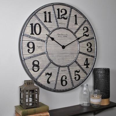 "27"" Cooper Farmhouse Wall Clock Gray - FirsTime & Co."
