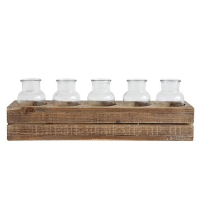 Wood Crate with 5 Glass Bottles - 3R Studios