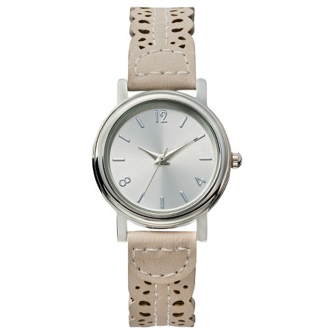 Women's ™ Analog Watch with Silver Tone Frame and Laser Cut Strap - Silver & White - Xhilaration™ - image 1 of 1