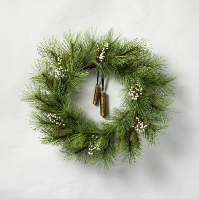 """24"""" Faux White Berry Pine Wreath with Bell - Hearth & Hand™ with Magnolia"""
