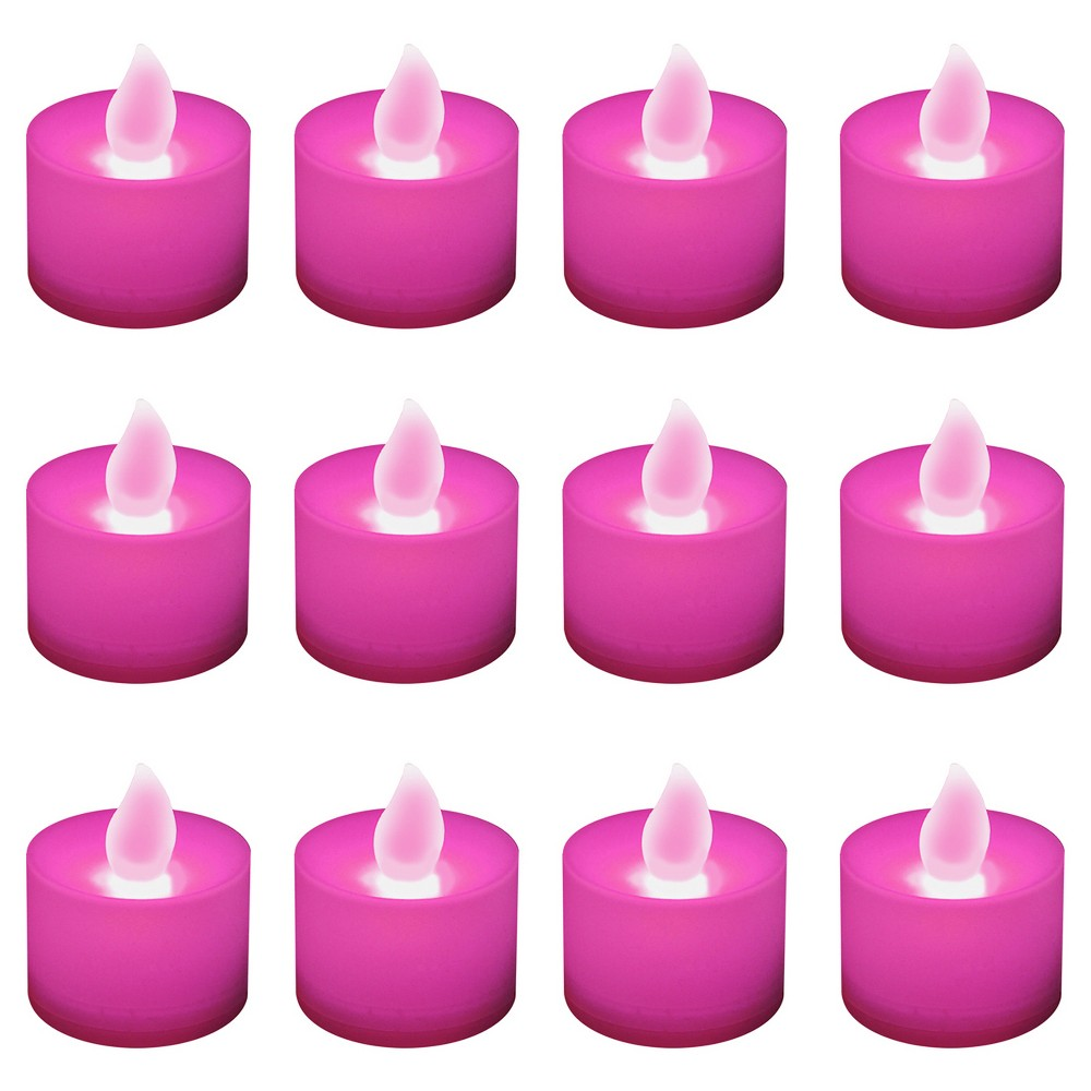 Image of 12ct Battery Operated LED Tea Lights Pink