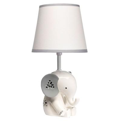 Lambs & Ivy Happy Jungle White/Grey Elephant Nursery Lamp with Shade & Bulb